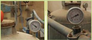 مراقبة مقياس الضغط قبل وبعد المصفات